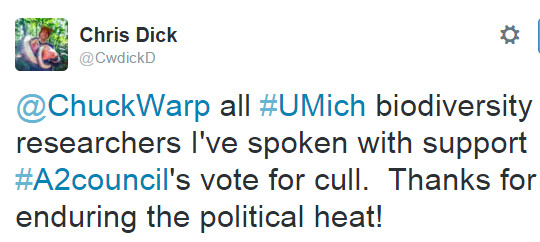 @ChuckWarp all #UMich biodiversity researchers I've spoken with support #A2council's vote for cull. Thanks for enduring the political heat!